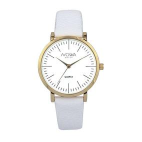 Relógio Nowa Feminino Dourado Couro Branco Nw1407k Original