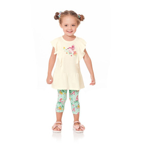 Conjunto Infantil Menina Bata Legging Passarinho Kk4871cj abdee48a3bacb