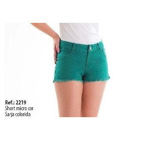 Shorts Feminino Sarja Colorido Adulto E Plus Size Maiores