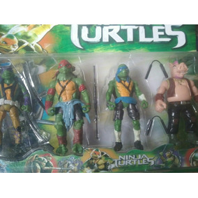 Kit 3 Bonecos Tartarugas Ninjas + Bebop 16 Cm + 5 Acessórios