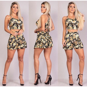 Conjunto Feminino Shorts E Cropped Verao Tendencia Modinha