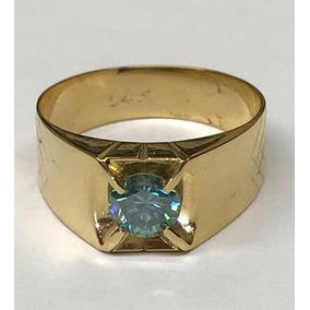 Anillo Para Caballero Diamante Cultivado Azul En Oro 14k
