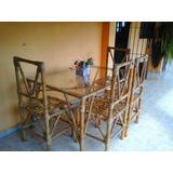 Mesa Bambu Com Vidro E 4 Cadeiras