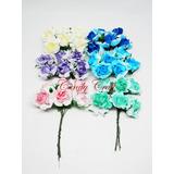 Flores De Papel Bicolor Ideales Para Vinchas O Peinados