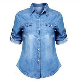 72cd58a009 Camisa Jeans Feminina Barata - Camisa Casual Manga Longa Feminino no ...