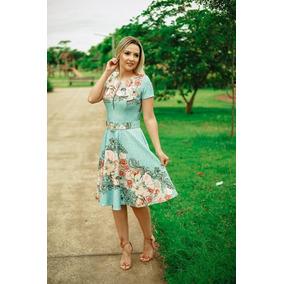 Vestido Moda Evangélica Zíper Frontal Godê Cinto Estrela Bet