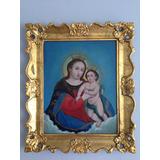 Pintura Antigua Arte Sacro Virgen Del Refugio Años 40