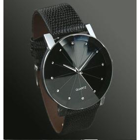 Relógio Unissex Pulseira Brilhante Strass Luxo Couro Caixa