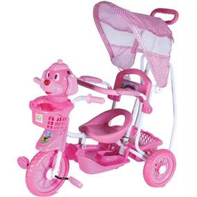 Triciclo Infantil Carrinho Bebê Capota Gangorra Pedal Rosa