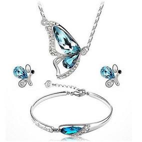 Nuevos Conjuntos De Joyas De Mariposa Necklace + Earring +