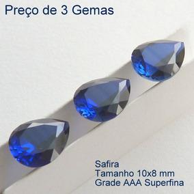 Safira Pedra Preciosa Preço 3 Gemas Safira Azul 10x8 Mm 3059
