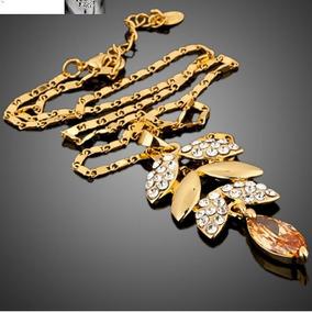 d2fb54b31f66e Colar Corrente Feminina Banhada Em Ouro Cristal Citrino Joia