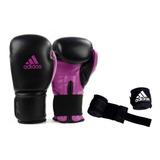 Luva Boxe Muay Thai adidas Power100 Preta C/ Rosa + Bandagem