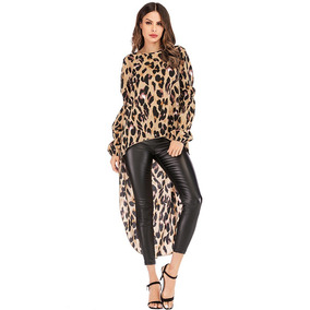 Moda Mujeres Leopardo Blusa O Cuello Manga Largo Irregular
