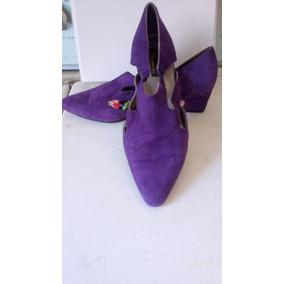 Zapatos De Dama Gamuza Morada Talla 5 Mexicano, Piel Y Cuero
