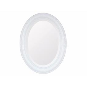 Espelho Oval Bisotê | Retrô Branco Grande