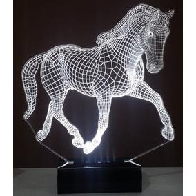 Luminária Cavalo Abajur Display Led 3d