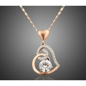 Collar Corazón Amor Swarovski Elements Oro18kgp Regalo