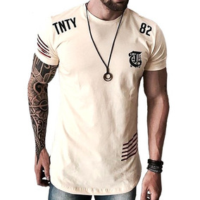 Camisas Masculina Longline Oversized Camiseta Estilosa Top