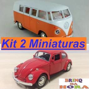 Kit Miniatura Fusca + Kombi Metal 1/32