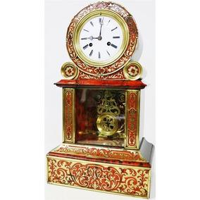 Antiguo Reloj De Mesa De Péndulo Francés Boulle Funciona