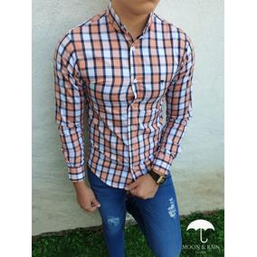 Camisa Slim Fit Cuadricula Naranja, Blanca Moon & Rain