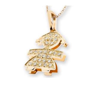 8efb05ac24d7a Pingente Menina filhas De Ouro 18k 750 E Diamantes Pi37vivar. R  1.121