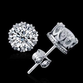 Broqueles Oro Blanco Laminado Con Diamante 18k