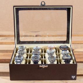 Caixa 12 Relógios Casulo Maior Estojo Couro Croco Organizar
