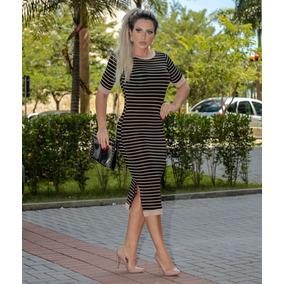 Vestido Mid Com Listras M/m Moda Evangelica