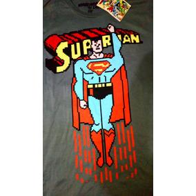 Playera Oficial Superman Pixels Máscara De Latex Original Eg