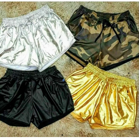 Shorts Feminino Couro Fake Box Tecido Cirre Varias Cores