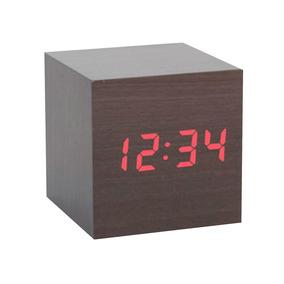 Reloj De Plástico Cubo Acabado Chocolate