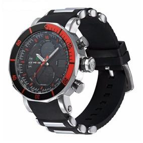 Relógio Masculino Weide Wh-5203-1 Anadigi Prata/vermelho