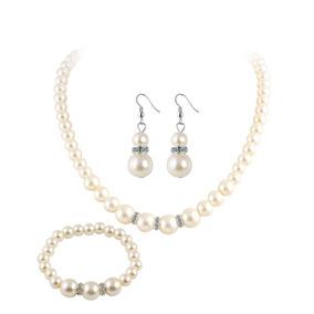 Sakura Set Collar Aretes Vintage Diamante Perlas Joyer Blanc