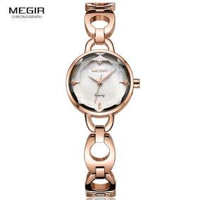 Relógio Megir 4173 Original Dourado C/ Branco 30 Metros