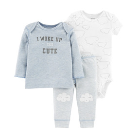 Set Carters Pantalón, Body Manga Corta Y Sweater Blanco