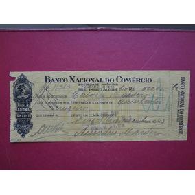 Cheque Banco Nacional Do Comércio 1943 Preenchido Lote 294