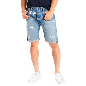 Bermuda Jeans Levis 501 Original Cut Off Lavagem Média
