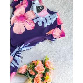 Vestido Violeta Com Flores Rosas