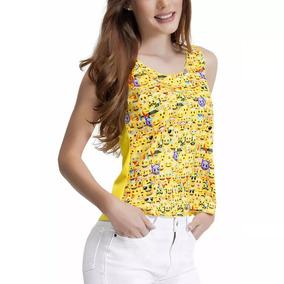 Camiseta Playera Emoji Para Dama Amarilla Sin Mangas 1272659