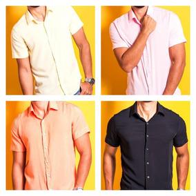 Camisa Casual Slim Em Viscose - 1 Camisa Casual