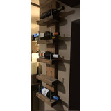Porta Botellas De Pared Madera Unico Industrial Cava Vinos