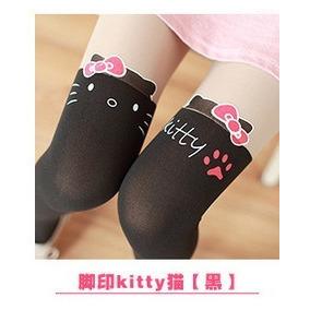Medias Calceta Over Knee Japonsa Panty Negro Bicolor Piel 1