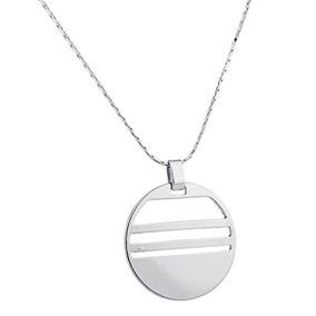 Collar Colgante Círculo Geométrico Lux Accesorios Silvertone
