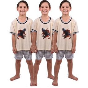Kit 6 Pçs Pijama Infantil Masculino Short Camisa Ref 164