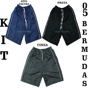 Kit 05 Bermudas Tactel Masculina 03 Cores 3 Bolsos 3 Costura