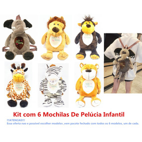 Kit 6 Mochilas Infantil Pelucia Animal 3d Original Atacado