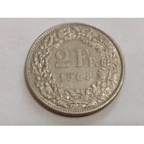 Moneda Suiza 2 Francos 1968 Excelente Estado