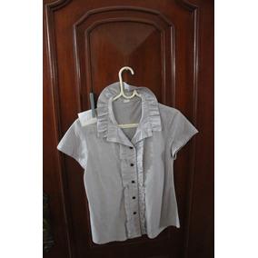 = Roupa Lote 631 Mulher Camisa Social Curta 42 Babado Cinza